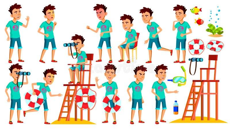 El muchacho adolescente asiático plantea vector determinado Persona positiva Salvavidas en la playa Mar, vacaciones Cubierta, dis stock de ilustración