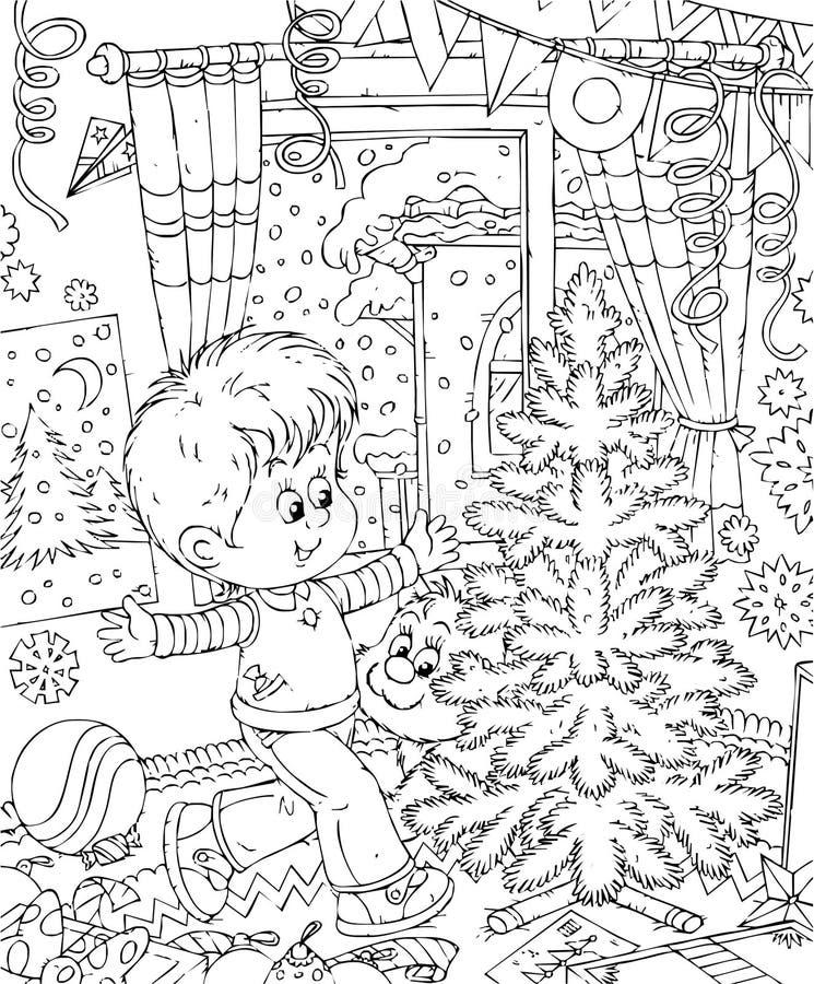El muchacho adorna su sitio para la Navidad stock de ilustración