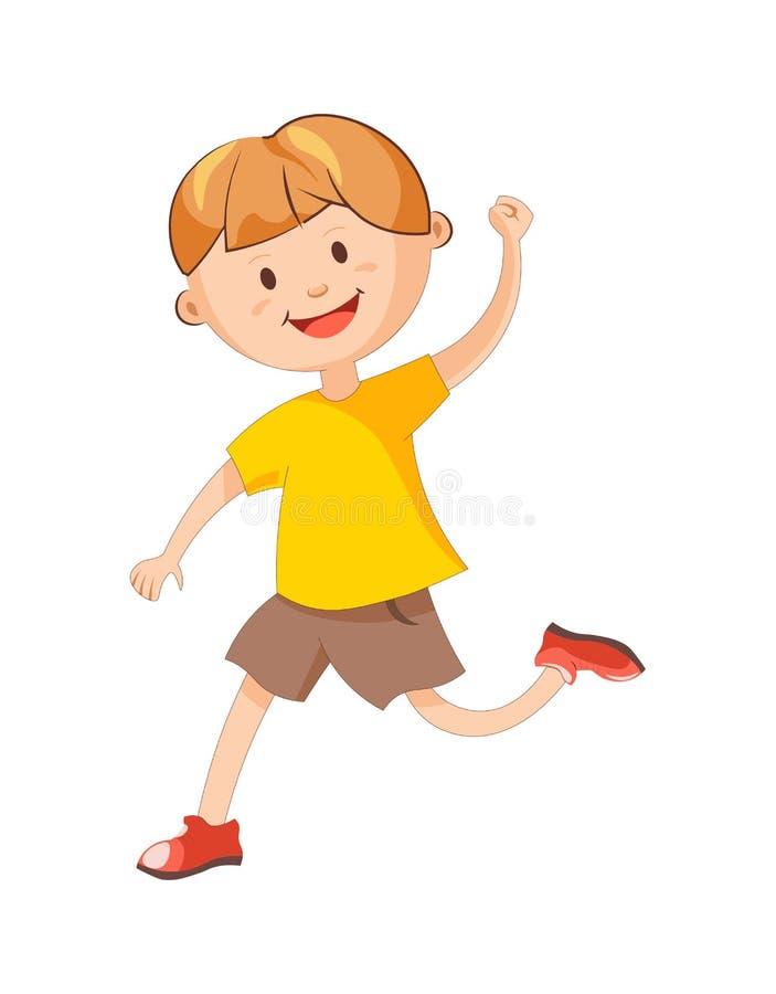 El muchacho alegre corre con el ejemplo aislado mano aumentado ilustración del vector