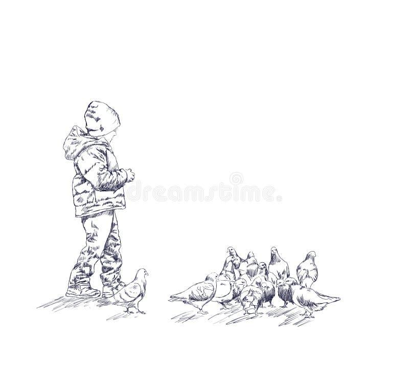 El muchacho alimenta los pájaros libre illustration