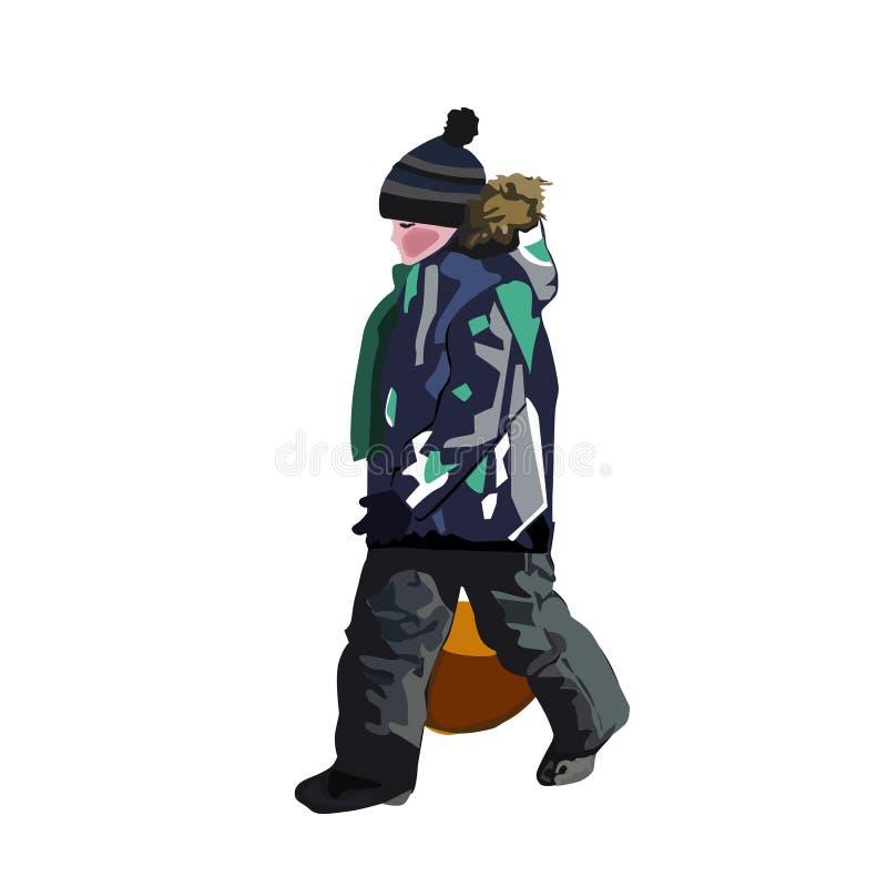 El muchacho con el rompehielos para la pendiente de cuestas del hielo stock de ilustración
