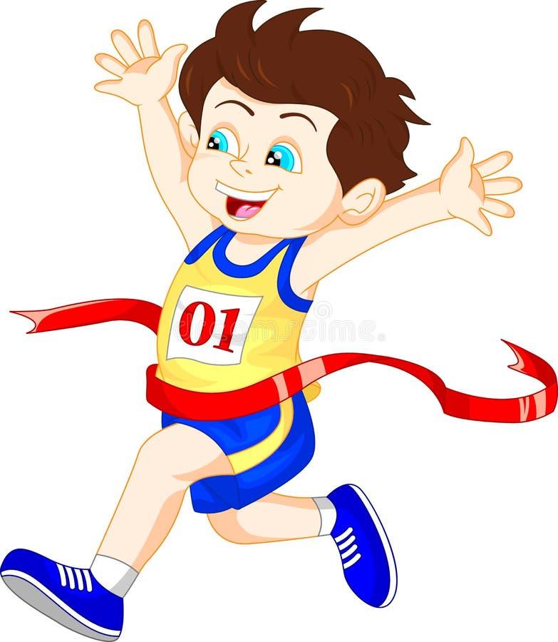 El muchacho corrió a la meta primero stock de ilustración