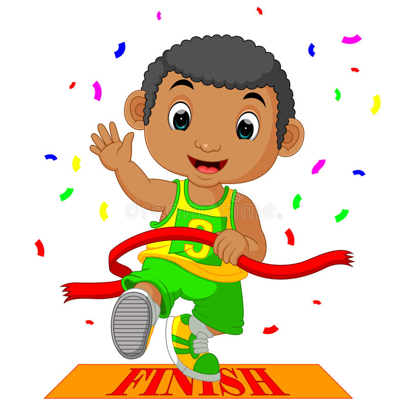 El muchacho corrió a la meta primero libre illustration