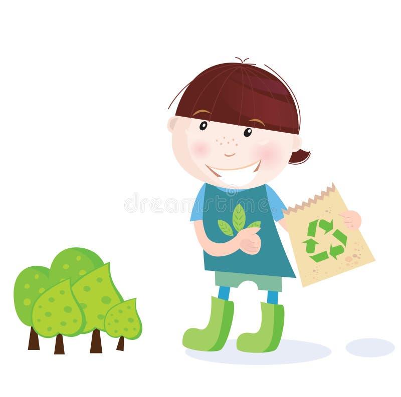 El muchacho de escuela está reciclando ilustración del vector