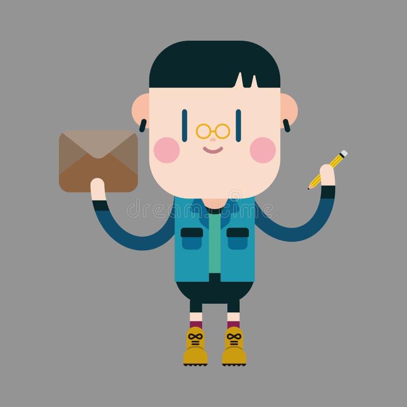 El muchacho del carácter escribe elementos del tema de la letra ilustración del vector
