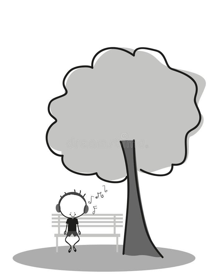 El muchacho del garabato escucha la música mientras que se sienta en un banco de parque debajo de un árbol ilustración del vector