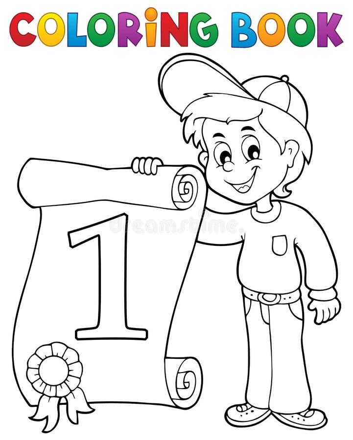 El muchacho del libro de colorear sostiene el certificado libre illustration