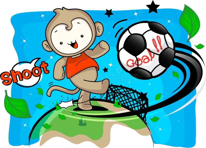 El muchacho del mono incorpora el campo del fútbol del retroceso ilustración del vector