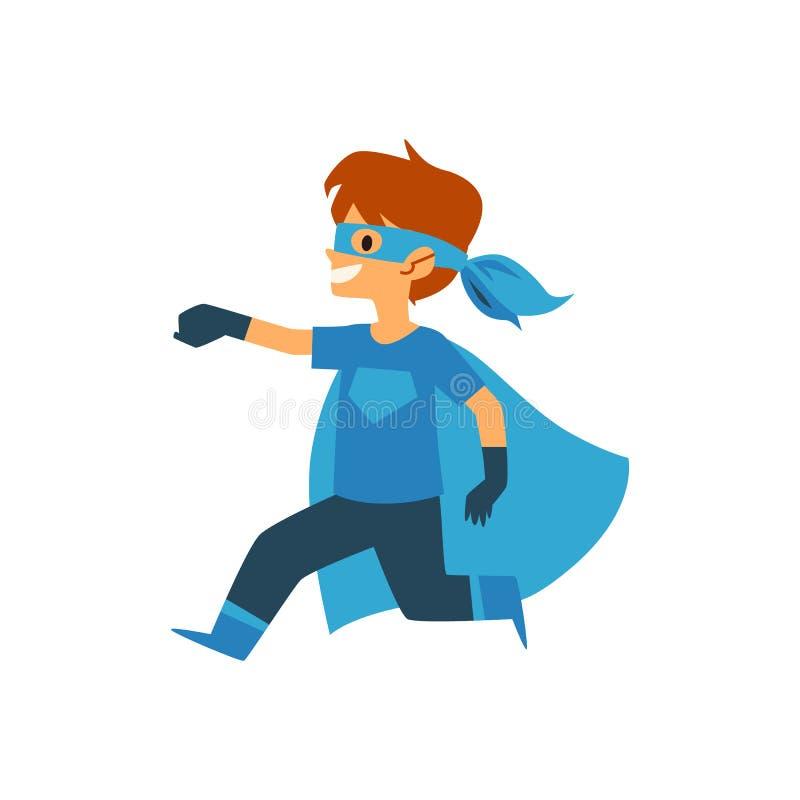 El muchacho del niño en brazo de funcionamiento del traje azul del super héroe amplió estilo delantero de la historieta stock de ilustración