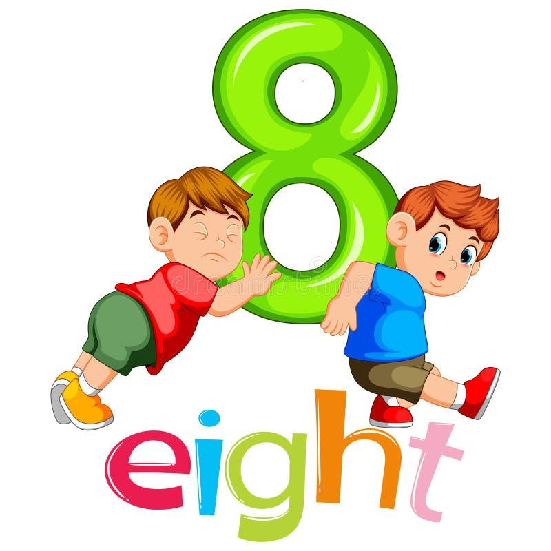 El muchacho dos continúa el número grande ocho ilustración del vector