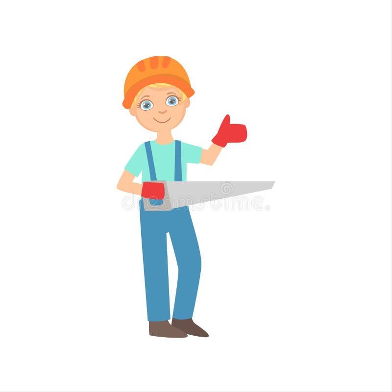 El muchacho en los guantes de trabajo que se sostenían vio, niño vestido como sistema ideal futuro de la profesión del sitio de O ilustración del vector