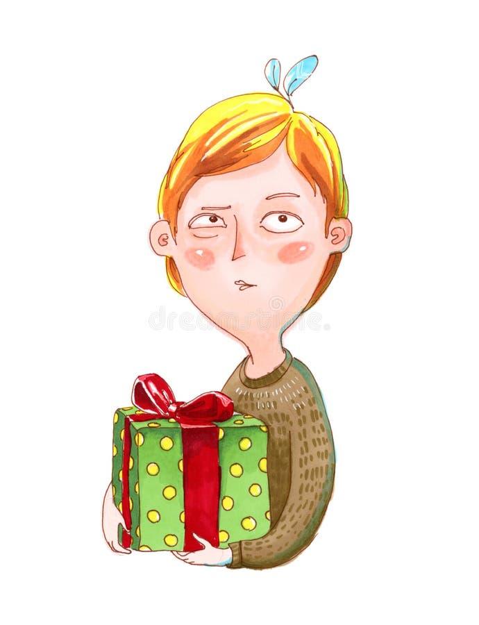 El muchacho en suéter marrón sostiene un regalo ilustración del vector