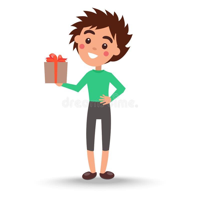 El muchacho en suéter y pantalones verdes sostiene la actual caja stock de ilustración