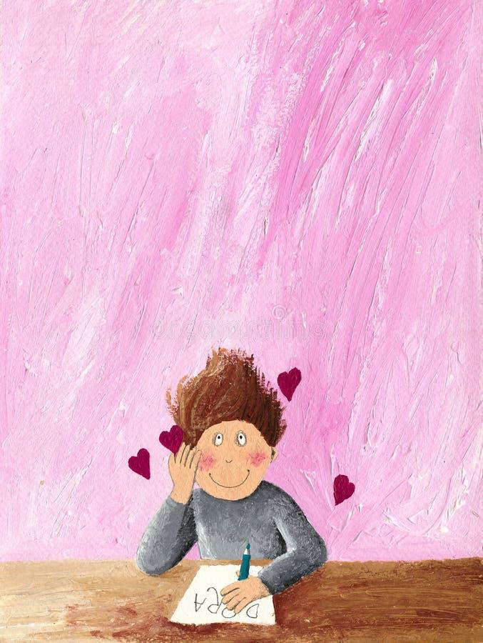 El muchacho escribe una letra de amor ilustración del vector