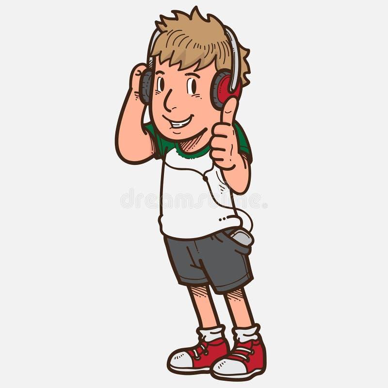 El muchacho escucha la música ilustración del vector