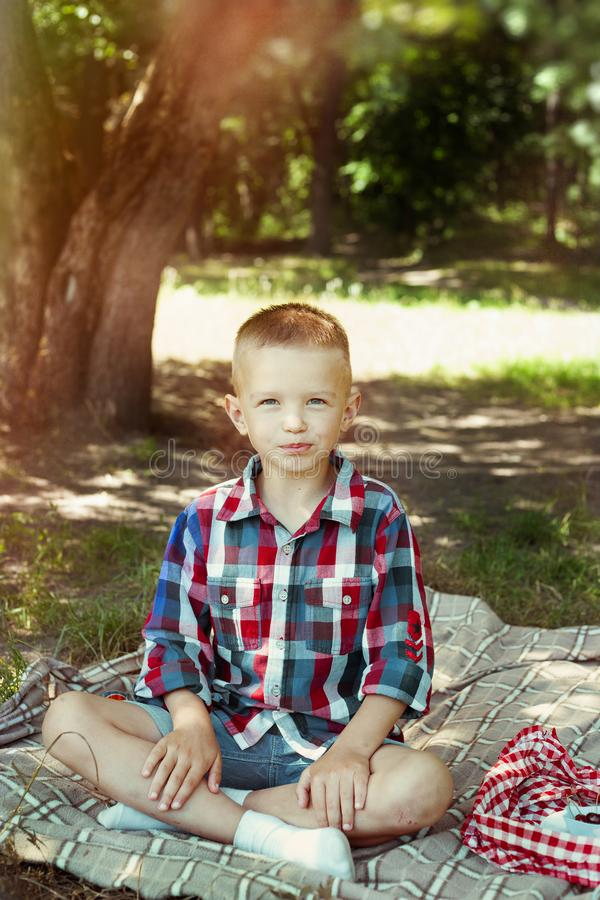 El muchacho está comiendo la baya en comida campestre del verano foto de archivo libre de regalías