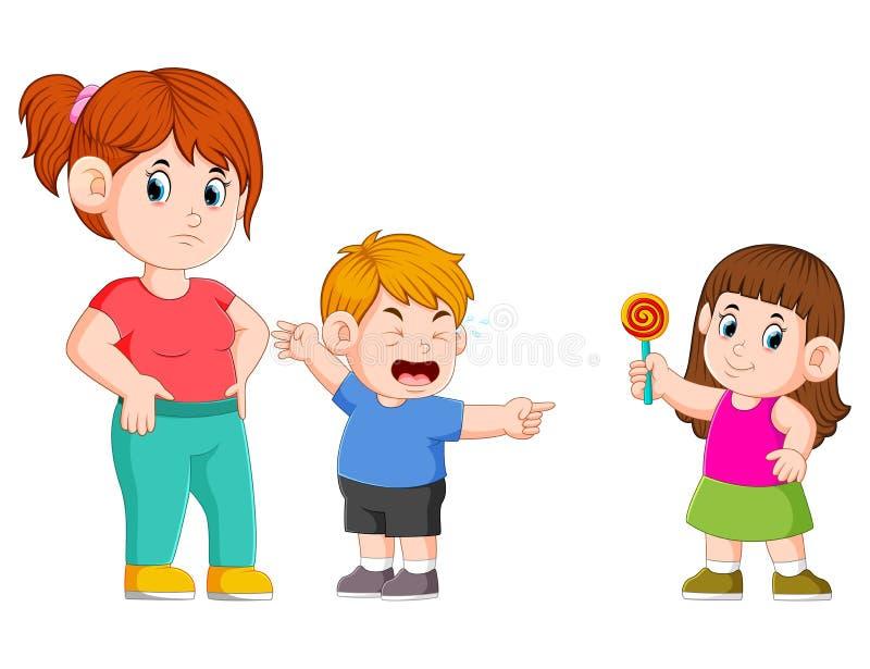 el muchacho está diciendo a su madre porque su hermana robada su caramelo ilustración del vector
