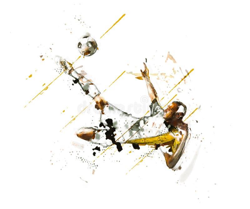 El muchacho está golpeando fútbol con el pie los deportes imagen de archivo