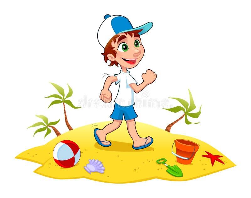 El muchacho está recorriendo en la arena. libre illustration