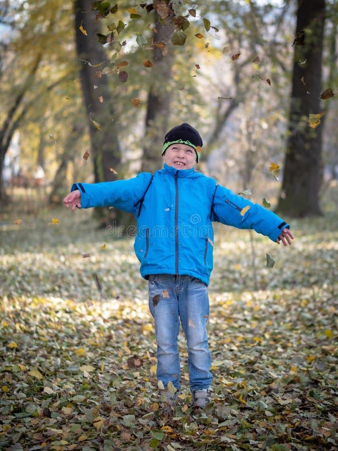 El muchacho feliz lanza las hojas en parque del otoño fotos de archivo