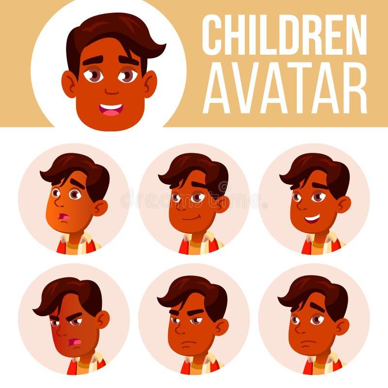 El muchacho indio Avatar fijó vector del niño High School secundaria Haga frente a las emociones Usuario, carácter Alegría, basta libre illustration