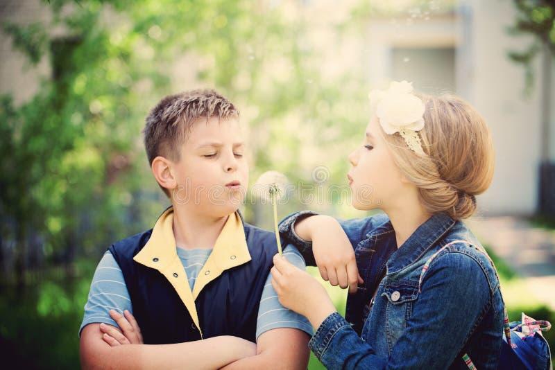 El muchacho joven y la muchacha que soplan un diente de león florece fotos de archivo libres de regalías