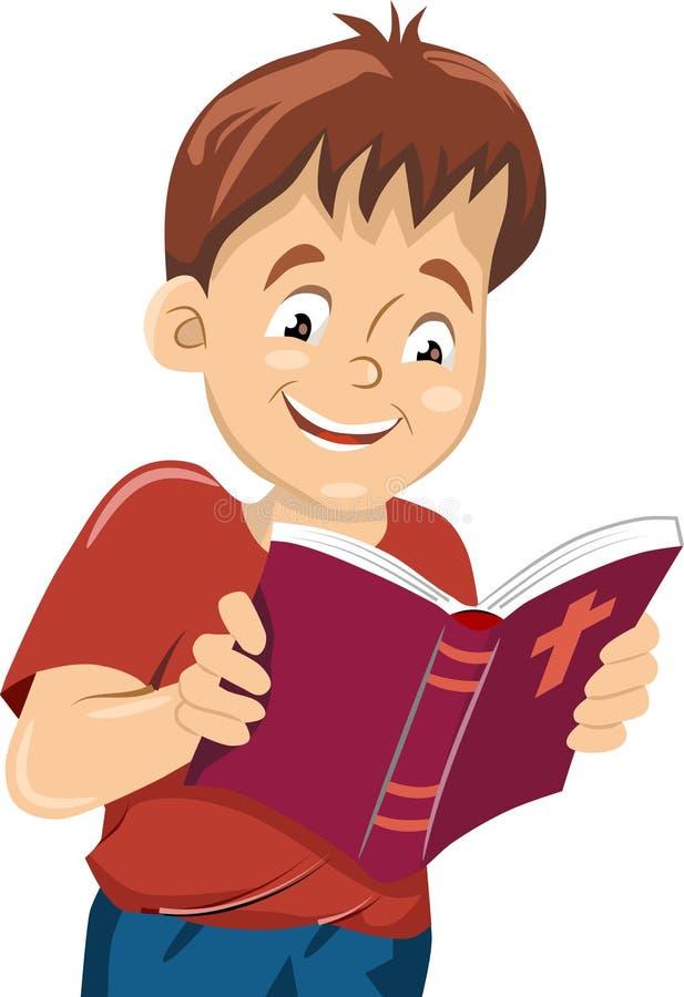 El muchacho leyó la biblia ilustración del vector