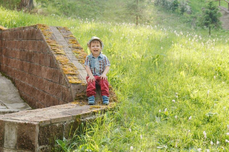 El muchacho lindo alegre de tres años en un sombrero se sienta en el verde imagen de archivo libre de regalías
