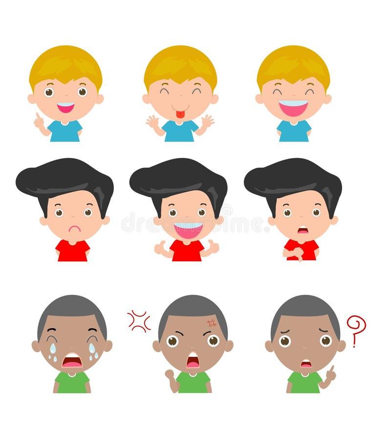 El muchacho lindo hace frente a mostrar diversas emociones, sistema de expresiones de los niños en el fondo blanco, sistema de ni stock de ilustración