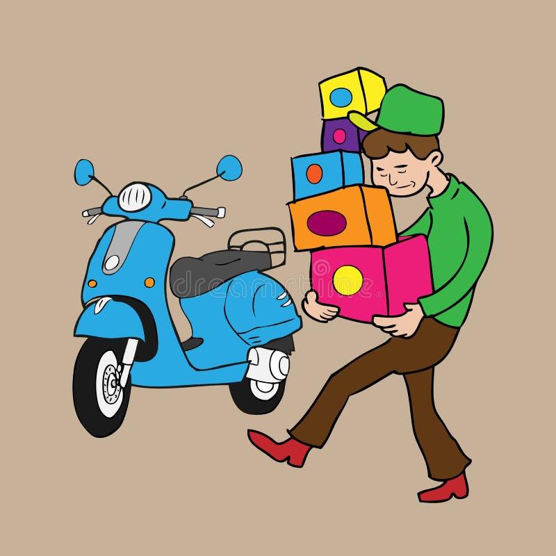 El muchacho lleva las cajas y la vespa ilustración del vector