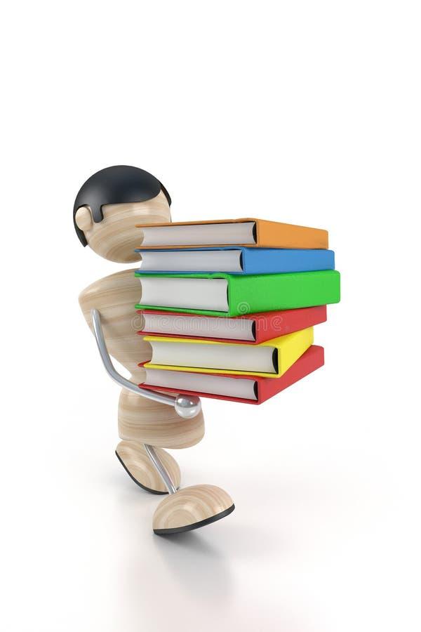 El muchacho lleva los libros libre illustration