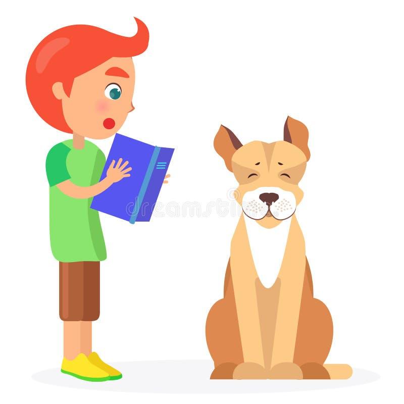 El muchacho pelirrojo lee el libro a Jack Russell Terrier stock de ilustración