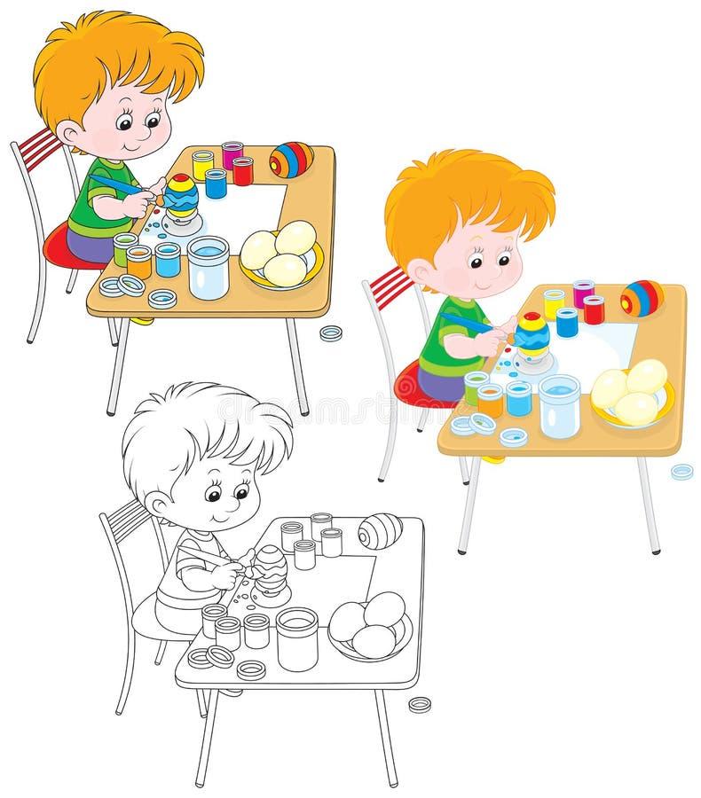 El muchacho pinta los huevos de Pascua ilustración del vector