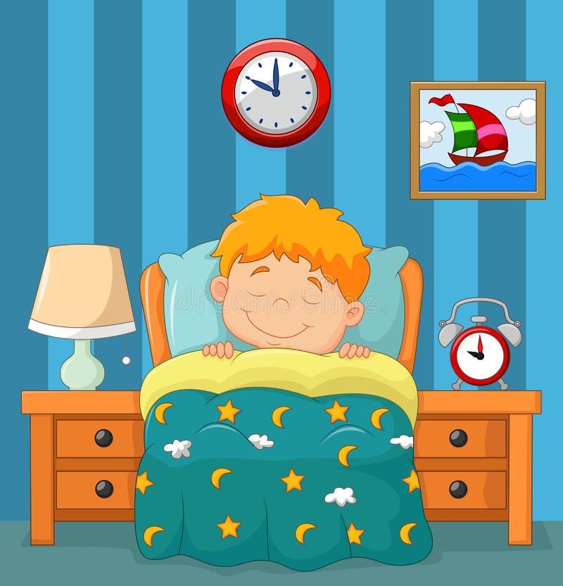 El muchacho que duerme en la cama ilustración del vector