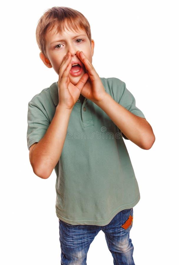 El muchacho que llora el adolescente que llama a niños los gritos abrió el suyo fotos de archivo libres de regalías