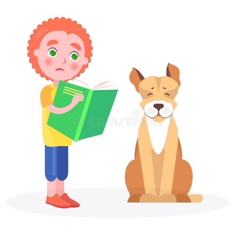 El muchacho rizado apenado se coloca con el libro y el perro stock de ilustración