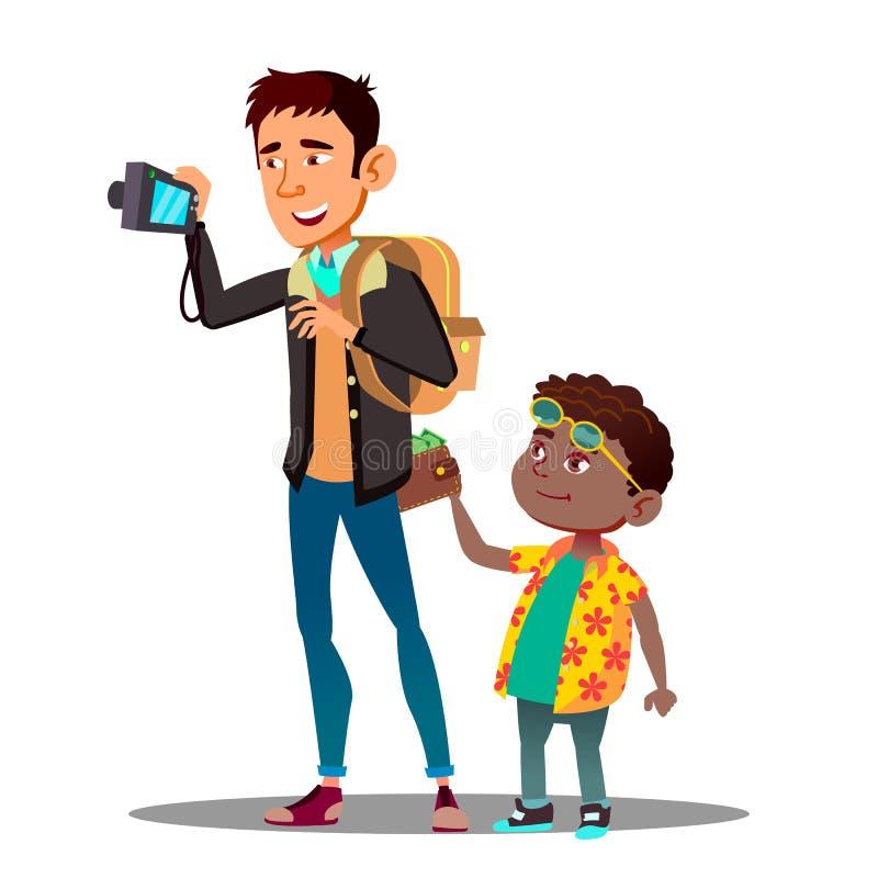 El muchacho roba una cartera del bolsillo trasero de vaqueros del vector turístico del hombre Ilustración aislada libre illustration