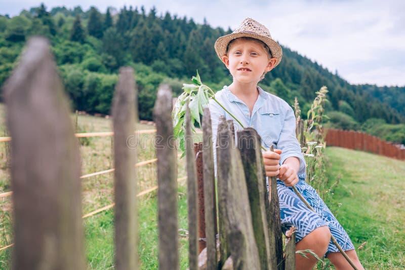 El muchacho se sienta en la cerca imagen de archivo libre de regalías