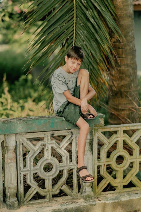 El muchacho se sienta en una cerca foto de archivo libre de regalías