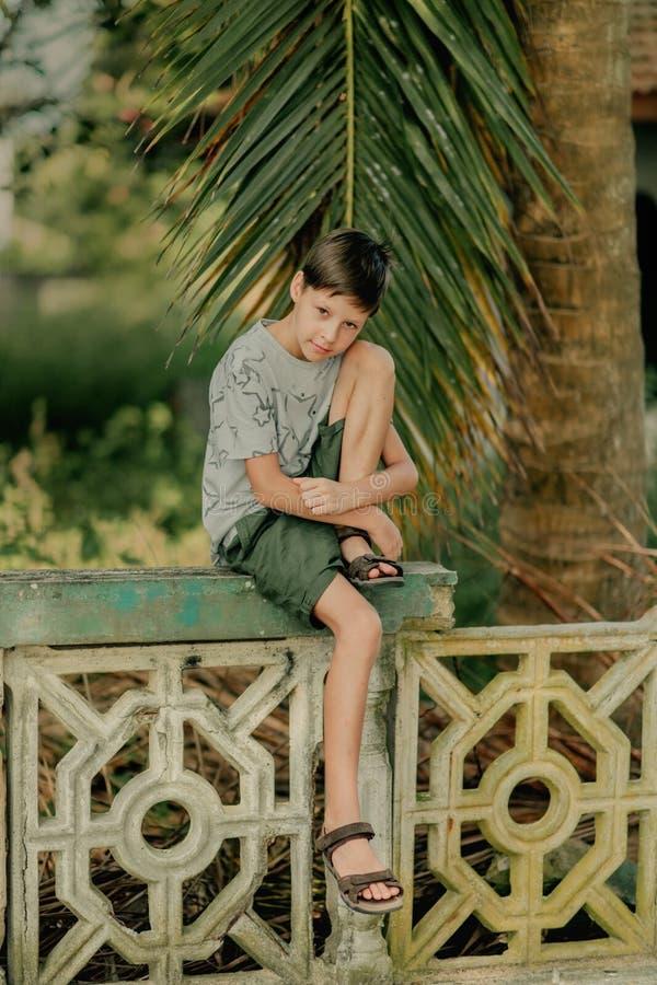 El muchacho se sienta en una cerca imagen de archivo