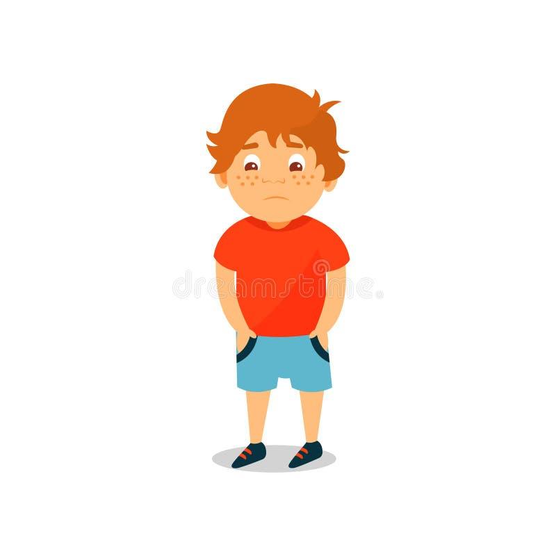 El muchacho serio lindo que se coloca y que lleva a cabo las manos en sus bolsillos vector el ejemplo en un fondo blanco libre illustration