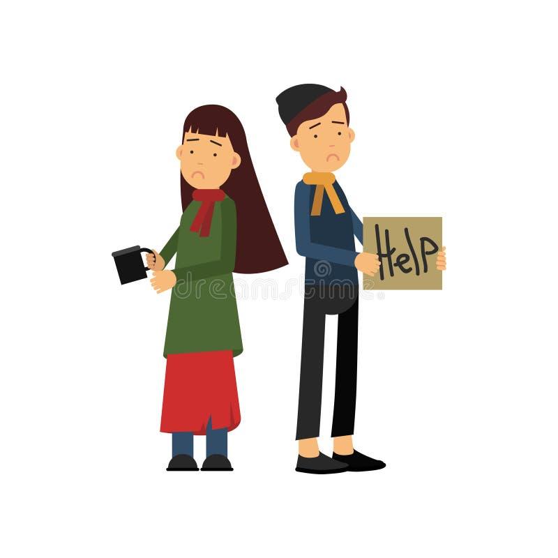 El muchacho sin hogar y la muchacha que piden ayuda en la calle, huérfanos que necesitan la historieta de los hel vector el ejemp ilustración del vector