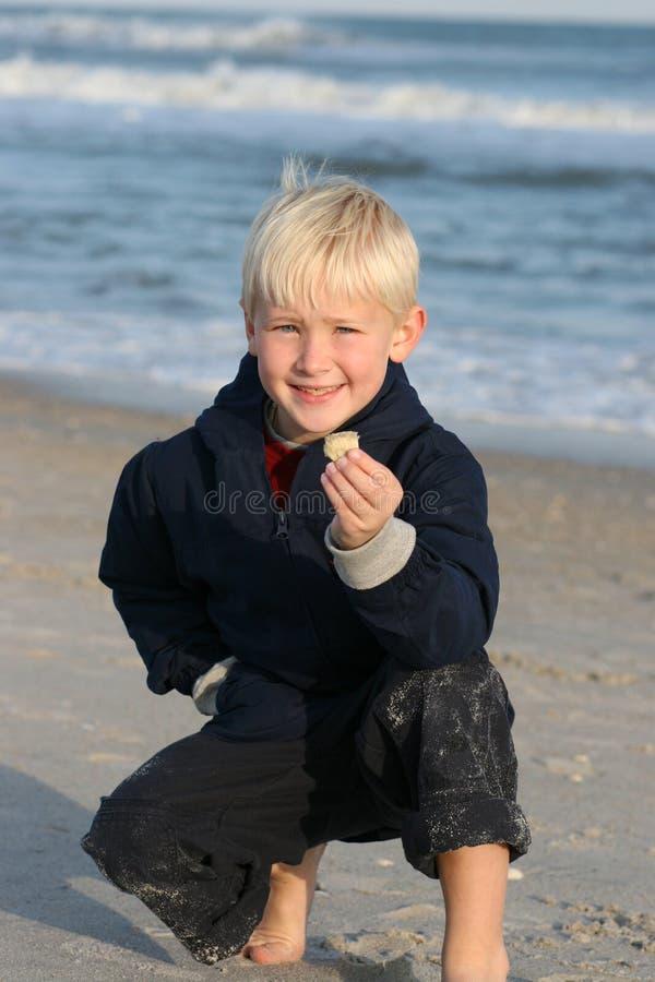 El muchacho sonriente en la playa muestra el shell fotos de archivo libres de regalías