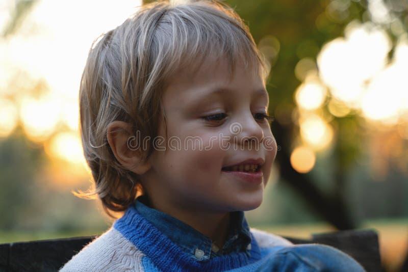 El muchacho sostiene la taza en manos en fondo caido de las hojas día hermoso del humor del otoño Caída de oro en vida inmóvil Ca fotos de archivo libres de regalías