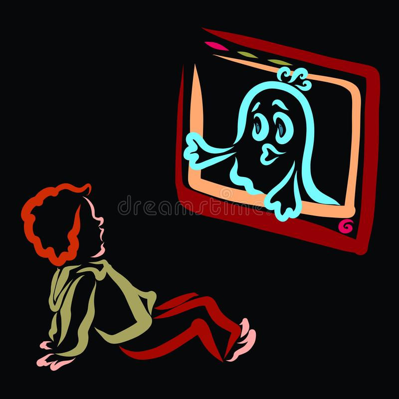 El muchacho tiene miedo del fantasma que salió de la pantalla de la TV libre illustration