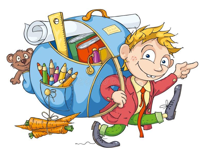 El muchacho va a la escuela libre illustration