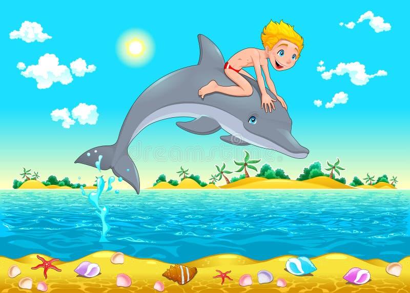 El muchacho y el delfín en el mar. stock de ilustración