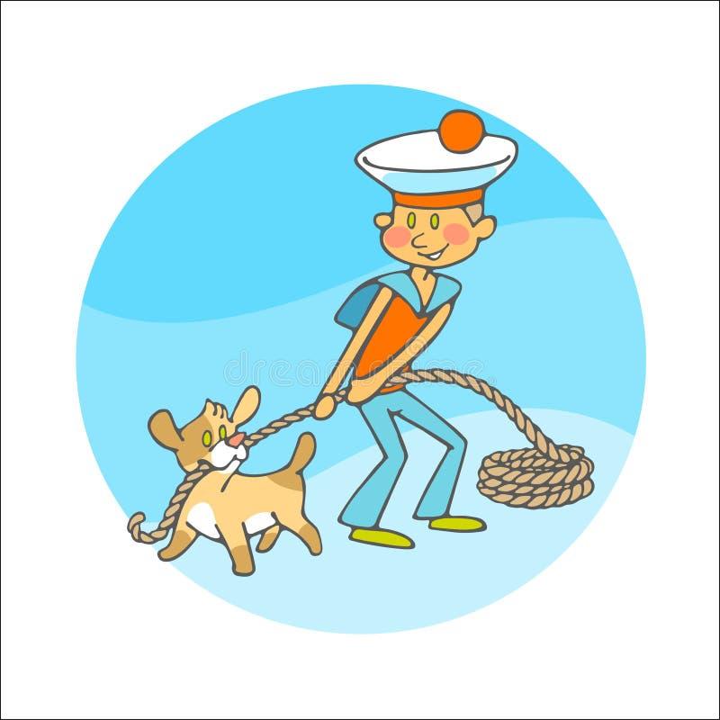 El muchacho y el perrito de marinero tira de una cuerda foto de archivo libre de regalías