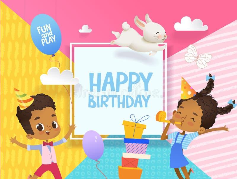 El muchacho y la muchacha afroamericanos felices en sombreros del cumpleaños saltan feliz Ejemplo del vector de un saludo del fel stock de ilustración