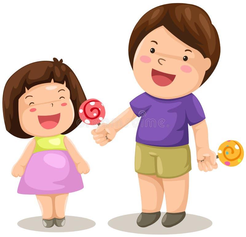 El muchacho y la muchacha comparten el caramelo ilustración del vector
